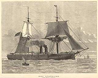 HMS Temeraire. Captain Henry F. Nicholson. Royal Navy. Ships - 1882 - Old Antique Vintage Print - Art Picture Prints of Royal Navy
