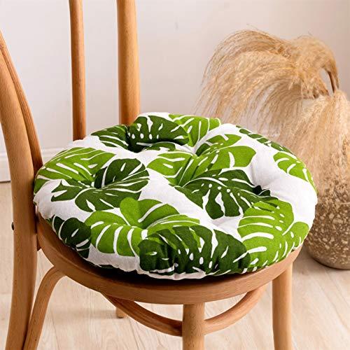 RAILONCH 2 cojines redondos para silla de exterior, cojín de suelo de algodón y lino, para casa, jardín, tatami, oficina (hoja de plátano, 40 x 40 cm)