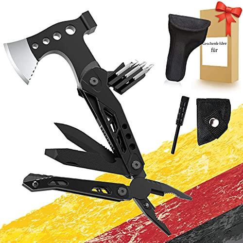 15 in 1 Multitool Hammer Axt Survival Kit Geschenk für Männer, mit Axt Karabiner, Taschenmesser, mit Axt & Hammer, Schraubendreher, für Reiten im Freien, Camping, Wandern
