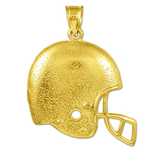 Kleine Schätze - 14 Karat Football-Helm-Gold-Sport- Anhänger Halskette (Kommt mit einem 45 cm Kette)