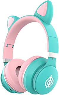 Cat Ear Wireless Headphones, Bass Noise Cancelling Bluetooth 5.0 Headphones with Built-in Microphone, Support FM Radio/TF ...