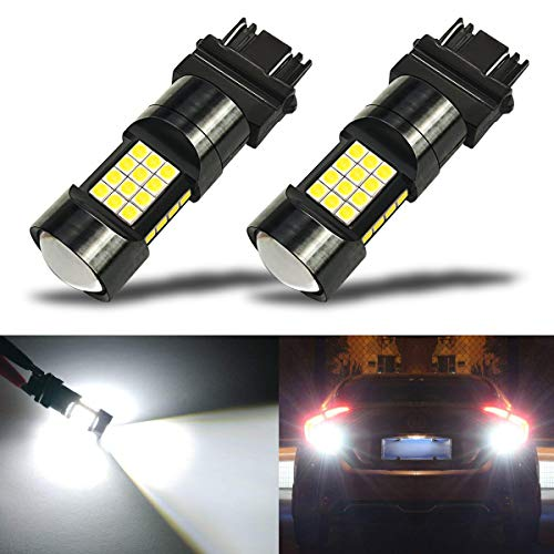 iBrightstar Newest Extremely Bright 36-SMD 3030 Chipsets 3156 3157 3057 4157 LED Bulbs with Projector Lens Replacement for Back Up Reverse Parking Daytime Running Lights, Xenon White
