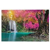 1000ピースパズル、エラワン国立公園タイの秋の森の緑の美しい滝、大人と子供のための絵パズルゲーム家族の結婚式の卒業ギフト