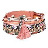 La Cabina Femme Bracelet en PU Cuir Tressé Bijou Fantaisie Mode Bracelet de Poignet avec Gland Longue Coloré Décoration Bangle...