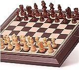 HYJMJJ Ajedrez de Madera Set de Viaje Juego de ajedrez magnético de ajedrez Plegable de Cuero portátil de ajedrez Juego de ajedrez Internacional Conjunto de ajedrez portátil (Size : 30.5X30cm)