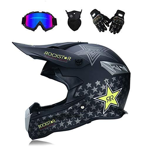 GWJ Adult Motocross Off Road Helmet DOT Dirt Bike Motorrad ATV AM Mountainbike Full Helm MX Full Helmet Offroad/Off-Road Goggles/Mask/Handschuhe (Style 5),Blackfivestars,S