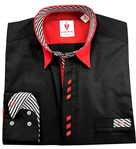 Leché Designerhemd Langarm im klassischen Schwarz mit roten Vierecken auf der Knopfleiste (M)