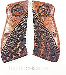 New Cz75 Cz85 CZ 75 85 Grips Cz 75/85 Compact Size Hardwood Wood Checkered Finger groove Handmade CZ P-01 CZ P-06 Beautiful Laser Lazer Skull Handcraft Sport for Men Birthday Gift #Ccw45