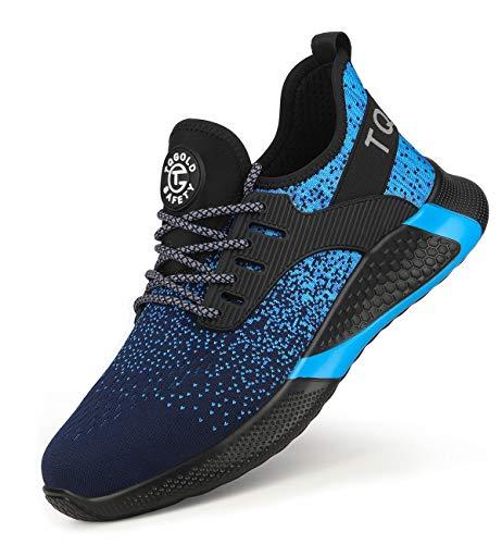 AONEGOLD Sicherheitsschuhe Herren Damen Arbeitsschuhe S3 mit Stahlkappe Sneaker Leicht Atmungsaktive Schutzschuhe Sportlich Sneaker(Blue, 50)