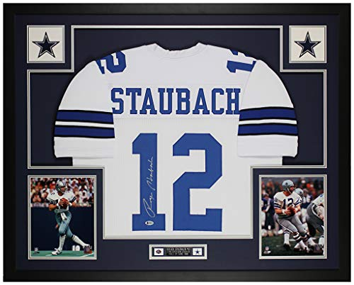 Roger Staubach Autographed White Dallas Cowboys Jersey - Beautifully Matted and Framed - Hand Signed By Staubach and Certified Authentic by Beckett - Includes Certificate of Authenticity