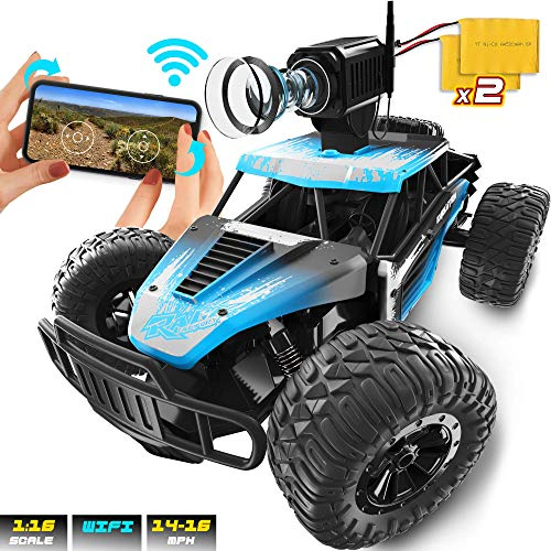 Remote Control Car with WiFi Camera - FPV 480p Video & Photo - 1:16, 16MPH, 2.4 GHZ with Phone App - RC Offroad Racing Rechargeable Battery Monster Truck for Boys, Kids, Adults - Great Gift