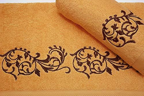 Set van geborduurde handdoeken 3 Piece 550 gr nº7 Oker Ornament