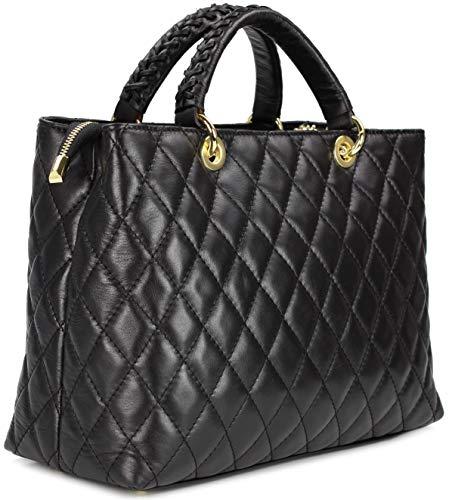 Belli edle italienische Echt Nappa Leder Damentasche Henkeltasche Umhängetasche gesteppt in schwarz nero - 34x25x17 cm (B x H x T)