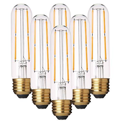 Dimmable T10 LED Bulbs Warm White 2700K LED Tubular Edison Light Bulbs 4W Tube Vintage Led Bulbs 40 Watt Equivalent,E26 Base, LED Filament Retro Bulb for Desk Lamp, Pendant Lights,6 Pack