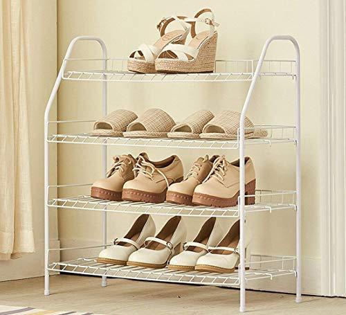 Zapatero de 4 Niveles de Acero al Carbono, Montaje fácil de Ahorro de Espacio, Estilo Minimalista, Blanco, estantes para Zapatos de 65 x 28 x 70 cm Zapatero