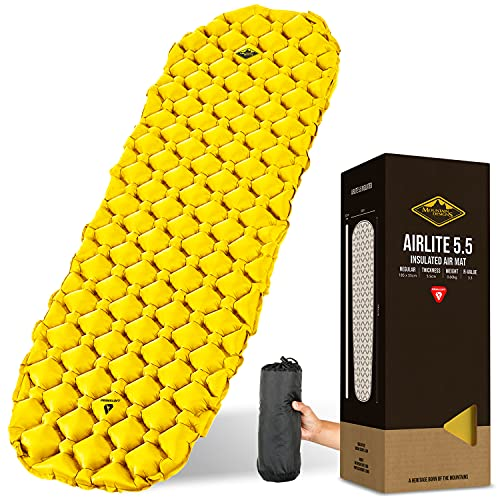MOUNTAIN DESIGNS PRO-ELITE Sleeping Pad   Ultralight and Thick Camping Mat Delivers Extra Comfort   Sleeping Mat Insulation Offers Extreme Warmth   Deflation Proof Heat-Welded Seams - Camping Gear