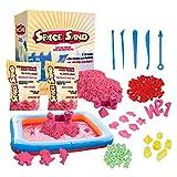 leo & emma space sand 1.8 kg con 50 pezzi forme, numeri, lettere, pezzi di castello, strumento di modellazione, sabbia magica cinetica, testato tÜv (1.8kg rosa)