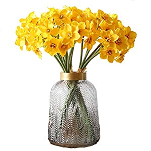 UUPP Artificial Daffodils Flowers 15.8 Inches Spring Flower Fake Silk Flower Arrangement for Home Wedding Decor, Yellow