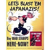 PROPAGANDA WAR WWII USA POPEYE STAMPS BULLETS FINE ART PRINT POSTER 30X40 CM 12X16 IN 宣伝戦争第二次世界大戦アメリカ合衆国切手アートプリントポスター