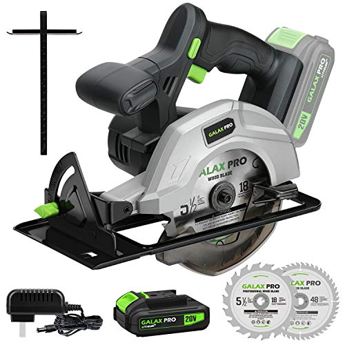 """GALAX PRO DC-20V 5-1/2"""" Cordless Circular Saw with 2Pcs Blades (18T+48T), 3800RPM Variable Speed, Includes 2.0Ah Lithium Battery and Fast Charger, Max Cutting Depth 1-5/8""""(90°), 1-7/16""""(45°)"""
