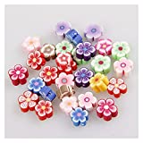 WEIMEIDA JQBB503 30 piezas 6 8 10 mm mezcla de color rebanadas de rosas de arcilla polimérica cuentas de flores DIY joyería accesorios pulsera SGNTZ (color: 10 x 5 mm 30 piezas)