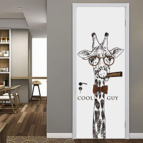 KaiXINSun PVC Tür Aufkleber 3D Selbstklebende Tür Poster Lustige Rauchen Giraffe Muster Tür Tapete Wandvinyl Dekoration Abnehmbare 77X200 cm