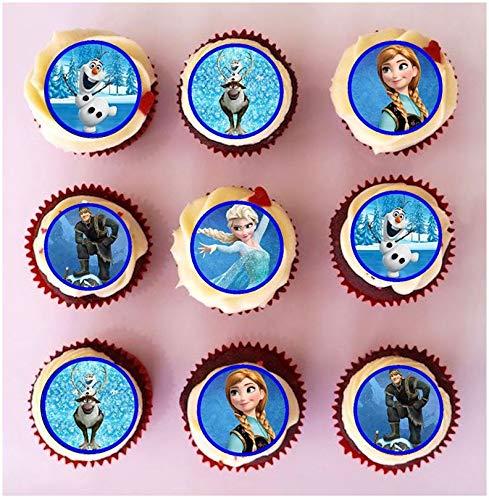 24 x PRE Cut Frozen Cupcake Toppers/Decoraties Eetbaar Wafer Papier