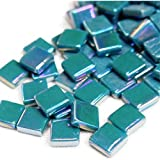 100 Pcs Teal Green Blue Iridescent Ceramic High Glass 1/2' Square Mosaic Tiles Mosaic Making Supplies