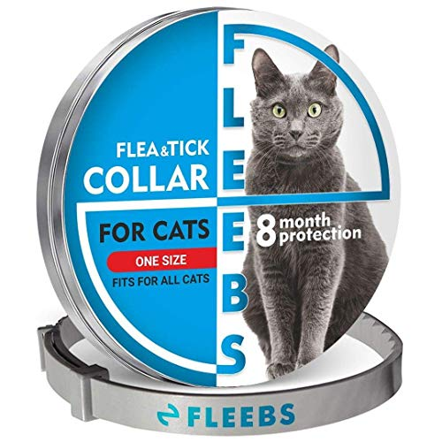 Fleebs Cat Flea Collar - Flea Collar for Cats Kitten Collar Flea and Tick Collar with Essential Oils - Adjustable Treatment and Prevention Collar Fits All Cats Pet Supplies