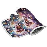 hdyefe Juego de manopla y soporte para ollas, gato espacial, pizza burritos guantes de horno resistentes al calor divertido
