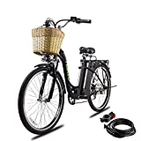 NAKTO 26'' Electric Bike for Adult, Cargo Electric Bicycle Camel Style, 250W Brushless Motor and 10.5Ah Removable Lithium Battery|...