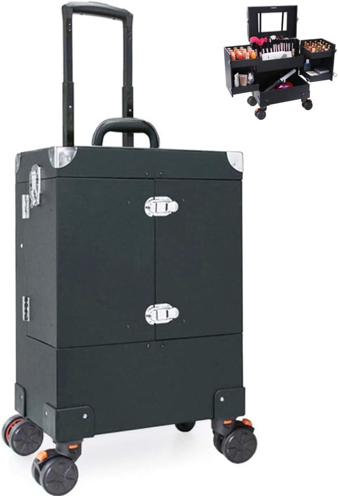 BYCDD Portable Opening large release sale Makeup Train Case Cosmet Rotation 360° Travel Safety and trust