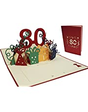 LIN -POP UP gratulationskort till 80-årsdagen