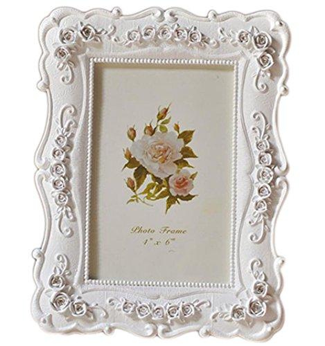 Demarkt Vintage Bilderrahmen Weiß Fotorahmen Harz Blumen Foto Anzeige Dekoration Poster hausdeko Wandbehang für Fotos Größe 10 x 15CM