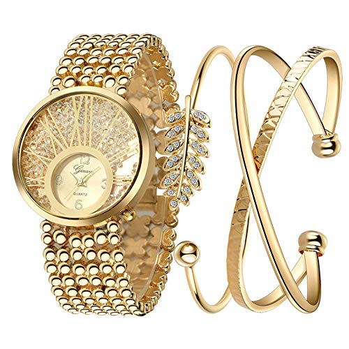 Damenuhr und Armreif Set vergoldet simuliert Diamant Quarz Armbanduhr passenden Armband Valentinstag Geburtstag Schmuck Geschenk