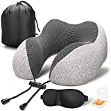 Memory Foam Travel, Neck Pillow with Head Support, for Airplane Car and Home