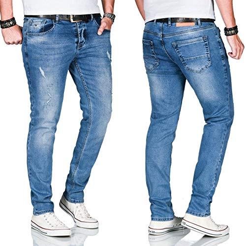 A. Salvarini Herren Stretch Jeans Hose Basic Slim Fit Pants [AS-160-Blau-W36 L32]