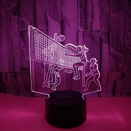 3D kreative kleine Tischlampe 3D Stereo Volleyball LED Dekoration Geschenk Tischlampe 3D Nachtlicht Milla Jovovich