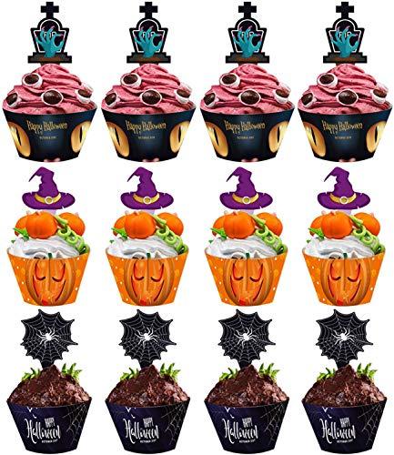 HENTEK Halloween Cupcake Wrappers Papier Muffin Backen Hüllen Kuchen Elf Cupcake Deko