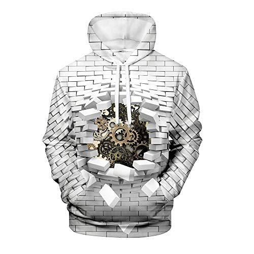 Men's Pullover Hoodie 3D Print Creative Brick Wall and Car Series Animal Casual Novelty Long Sleeve Hooded Sweatshirts with Pocket 9 Design M
