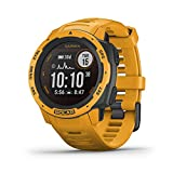 Garmin Instinct Solar, Solar-Powered Rugged Outdoor Smartwatch, Built-in Sports Apps and Health Monitoring, Sunburst Yellow