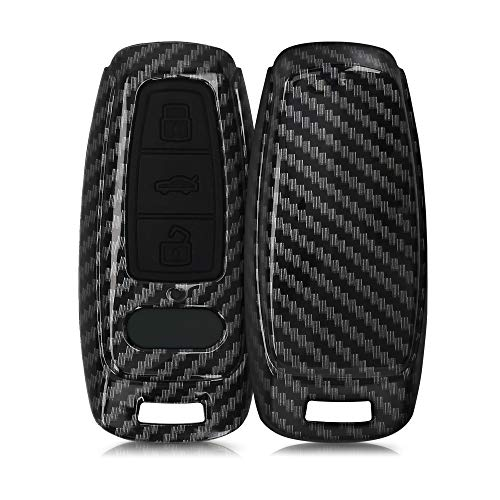 kwmobile Autoschlüssel Hülle kompatibel mit Audi A6 A7 A8 Q7 Q8 3-Tasten Autoschlüssel Keyless - Hardcover Schutzhülle Schlüsselhülle Cover Carbon Schwarz
