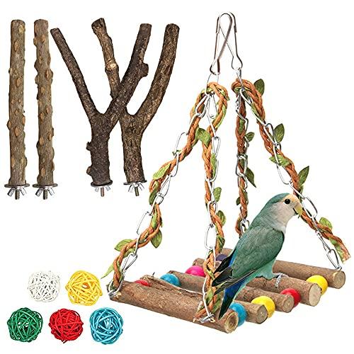 Furado 5 Stück Natur Sitzstangen für Vögel,Gebogene Sitzstangen für Vogelkäfige Schaukel Spielzeug Vogelschleifklauen Klettern Stehend Vogelkäfig Zubehör für Wellensittich Nymphensittich Kanarienvogel