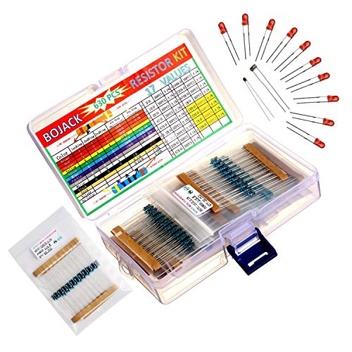 BOJACK 17 Werte 630 Stück 0 Ohm-1 M Ohm mit 1% 1/4 W Metallfilm widerständen Sortiment und Gratisprodukt 1 Stück Thermistor & 1 Stück Fotowiderstand & 10 Stück LED