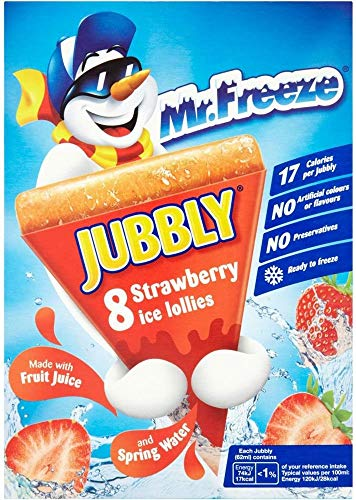 Calypso Jubbly, Ice Lolly - Real Fruit Juice Ice Pop, No Preservatives, Strawberry Flavour, 8 Ice Lollies (62 ml)
