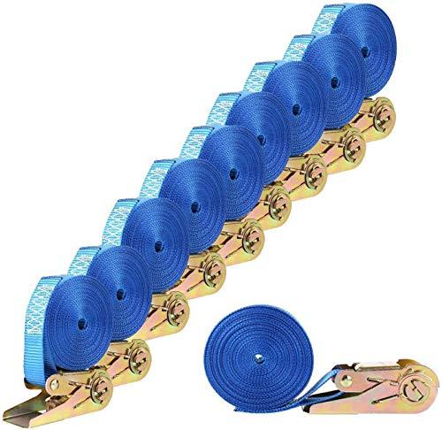 FIXKIT 10 Stück Spanngurte mit Ratsche max. 800 kg Zugkraft Zurrgurt Ratschengurt 6 Meter für den täglichen Transport und die Bündelung von Waren/Blau
