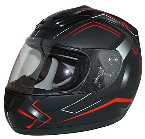 protectWEAR Motorradhelm H510 Arrow Schwarz Matt/Rot, Größe M