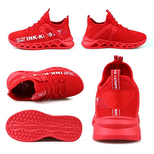 Decai Ligeras Zapatillas Deportivas Unisex Niños Zapatillas de Correr Niño Zapatos Deportivo Transpirable Niña Zapatos de Running Deportes de Exterior Interior Rojo 27 EU