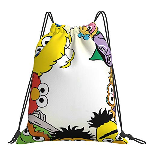 Se-Same Street Drawstring Bag Gym Sports Bag Drawstring Backpack for Women and Men School Swimming Yoga PE Rucksack Waterproof and Foldable