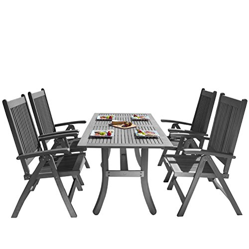 Vifah Renaissance Outdoor Patio Hand-Scraped Wood 5-Piece Dining Set with Reclining Chairs